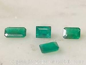 Four 1.25 ct Deep Green Emeralds with COA