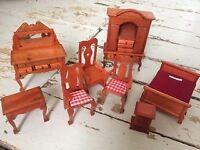 Vintage wooden doll's house furniture