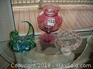 Cranberry glass Hurricane Lamp and Glassware A