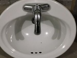 Oval white Bathroom sink (faucet not included)