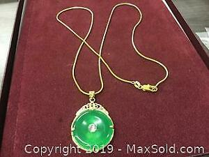 Chinese Green Jade Pendant On Marked 14Kt Necklace