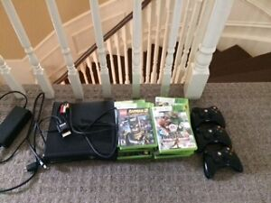 EUC Xbox 360 with 2 Controllers and 18 Games