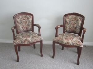 2 solid wood antique look chairs
