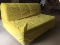 ikea double size futon bed with mattress and cover.metal frame,wooden slats.