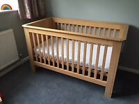 pine cot bed (John Lewis), with mattress.