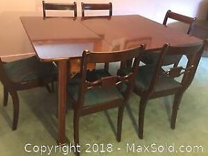 Antique Flip Top Mahogany DR Table And Chairs