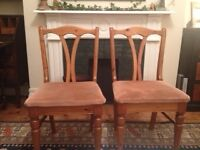 Two dining chairs - good quality, pine, used but lots of life