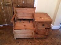Wooden monks bench and cupboard
