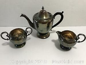 Three Part Silver Plate Tea Set