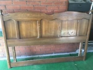 Solid Oak Headboard with bed frame