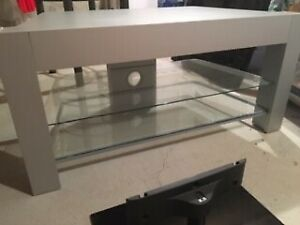 Glass and steel TV stand