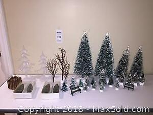 Department 56 Village Christmas Accessory Lot Trees & 2 Park Benches