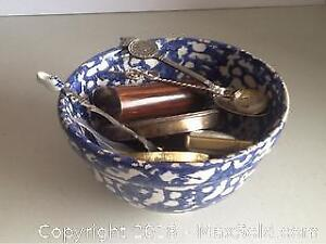 Sponge ware Bowl Full Of Jewelry And More