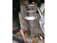 Stainless steel flue and new fire braket good condition 7inch external, 5 inch internal