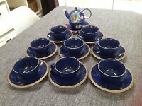 Crown Blue Ceramic Kalahari Sands Cups/Saucers