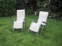Lafuma Reclining Garden Chairs with Towels