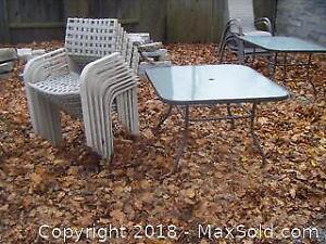Patio Table And 10 Chairs A