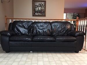 Couch and Loveseat  - Black Leather