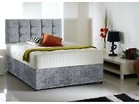 Same day Timed (2 Hour Slots) Crushed Velvet Double Bed Memory Foam Mattress Crystal Headboard
