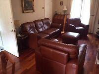 Brown Genuine Leather 3 Piece Suite Sofa