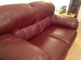 TWO SEATER SOFAS LEATHER WINE COLOUR EXCELLENT CONDITION
