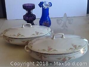 Vintage Lot Austrian Serving Dishes And Art Glass
