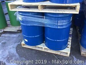 Pair of 55 Gallon Blue Steel Storage Drum With Lid