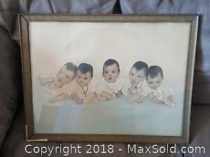 Picture of the Dionne quintuplets taken for their first birthday on May 28, 1935