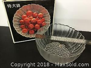 Vintage Japanese Glass Serving Bowl in box