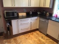 Complete kitchen - high gloss cream base and wall units / large black granite worktops VG Condition