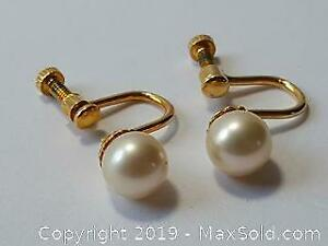 Five mm Pearl earrings for non pierced ears not marked