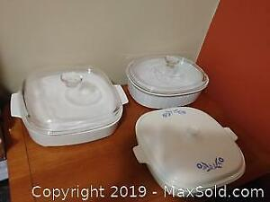 1 x 10 inch corning ware and 2 other baking dishes