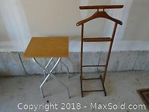 Small Folding Table and Clothing Rack