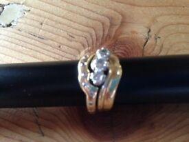 22 Carat Yellow Gold Diamond Wedding, Engagement and Eternity Rings. Interlocking Set. Beautiful