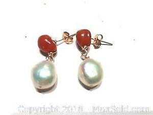 14K RG Filled Baroque Pearl Red Coral Earring