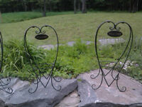 """Wrought Iron Plant Holder with """"WELCOME"""" Sign"""