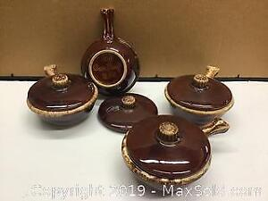 Antique Hull Pottery, USA set of 4