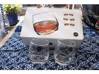Sagaform round bottom whisky glasses x 6. Brand new. Superb.