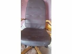 Wood and Brown leather office chair