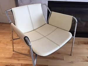 Modern Genuine Leather and Chrome Accent Chair