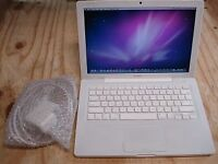 Macbook white 2008 laptop fast with 4gb ram and 120gb SSD hard drive