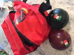 Set of bocce balls with carrying bag