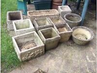 Collection of concrete / Stone plant pots for the garden