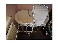STAND NOT INCLUDED)-OBABY MOSES BASKET WITH MATTRESS/ HOOD/PERFECT CONDITION