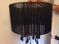Beautiful large black drum lamp shade with black hanging crystals