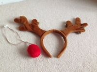 Christmas Antlers and red nose set