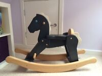 Kids grey wooden rocking horse in excellent condition
