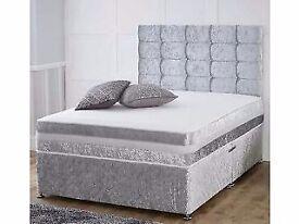 RYLEYS Luxury Crushed Velvet Divan Bed & Big Floor Standing 145cm Height Diamante Headboard