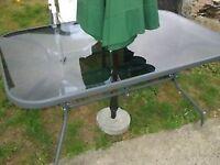 LARGE RECTANGLE GLASS TOP GARDEN TABLE ** BRAND NEW ** HOMEBASE PRICE £65 - CLACTON CO15