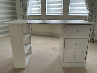 White Desk with Drawers and Bookcase